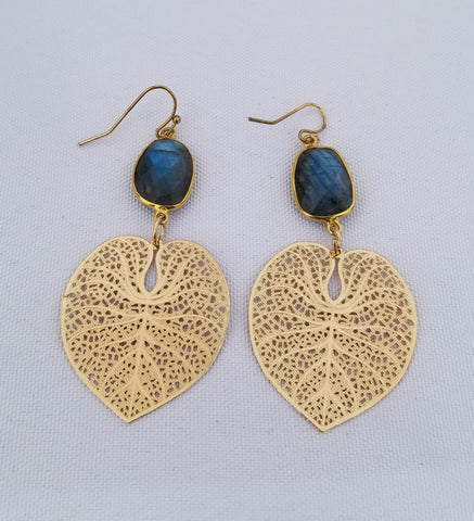Earrings 14 k Gold Filled and labradorite . Gold heart leaf at bottom