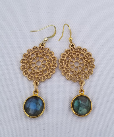 Earrings 14 k Gold Filled and labradorite at bottom.