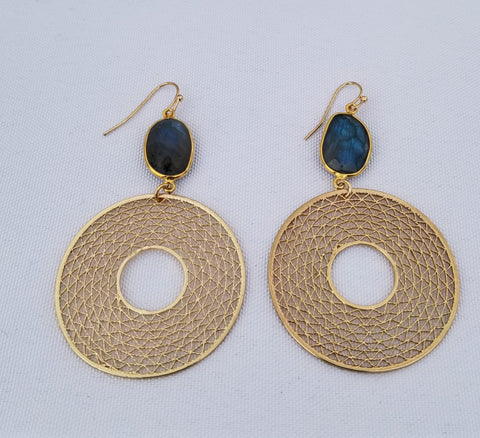 Earrings 14 k Gold Filled and labradorite at top. Donut gold charm