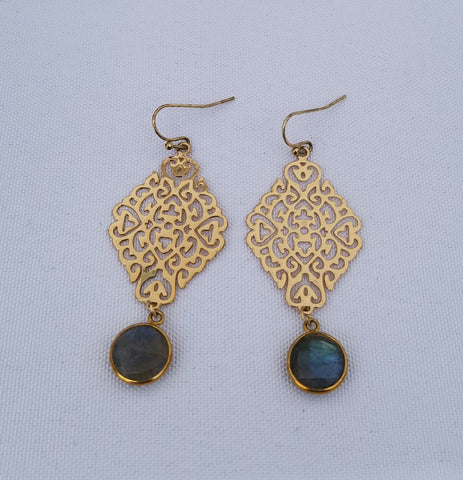 Earrings 14 k Gold Filled and labradorite at bottom