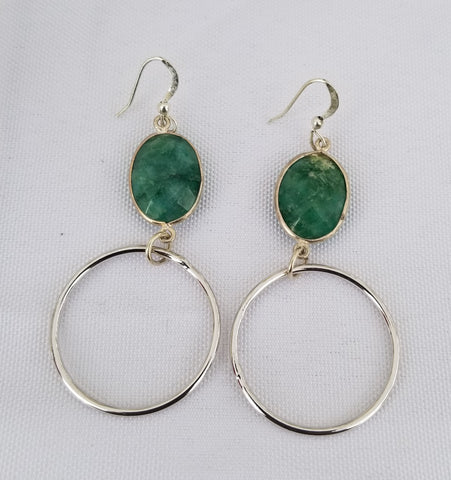 Earrings Sterling Silver and dyed emerald. Bottom Ring