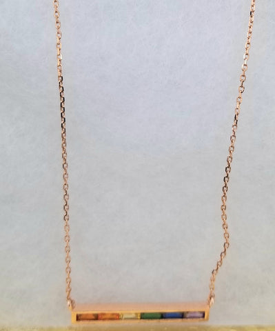 Necklace horizontal 14K Gold Filled Bar with cubic zirconia