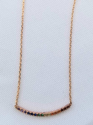 Necklace oval 14K Gold Filled Bar with cubic zirconia