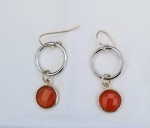 Earrings sterling silver  and carnelian . Ring