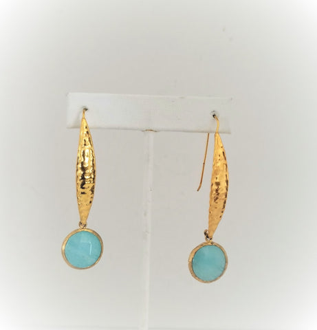 Earrings 14K Gold Filled and  fixed hoop. Green Chalcedony