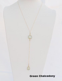 "30 Inches ""Y"" Necklace 14k Gold Filled with Natural Stone Connector and Tear Drop Natural Stones Pendant"