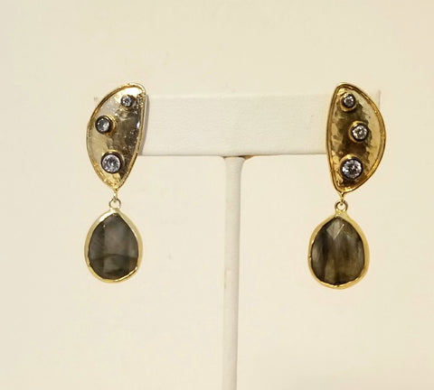 Earrings 14K Gold Filled . Labradorite and Crystals