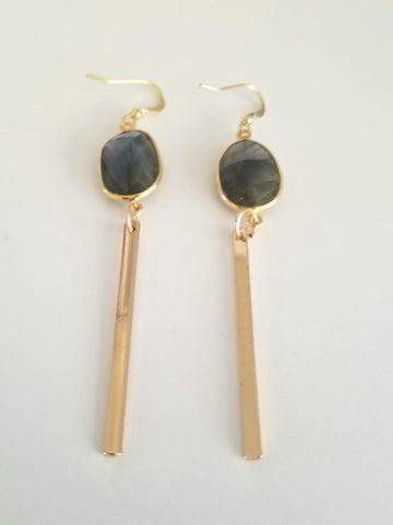 Earrings 14K Gold Filled and Labradorite . Bar