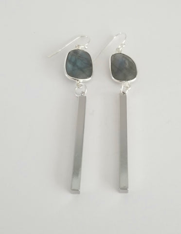 Earrings Sterling Silver and Labradorite . Bar