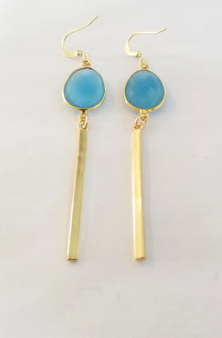 Earrings 14 K Gold Filled and Blue Chalcedony . Bar