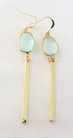 Earrings 14 K Gold Filled and Green Chalcedony . Bar
