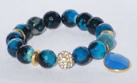 Bracelet Agate and Blue Chalcedony