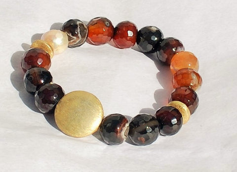 Bracelet Agate and Fresh Water Pearls