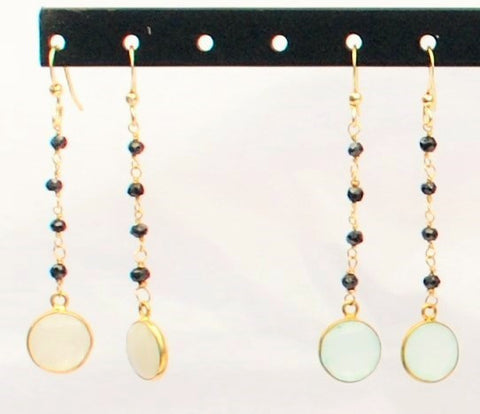 Earrings with Black Onix and 14K Gold Filled Chain