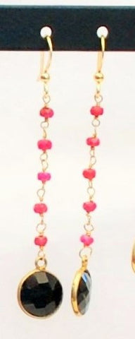 Earrings with Ruby and 14K Gold Filled Chain