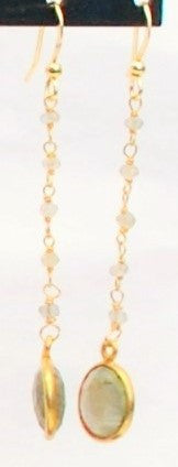 Earrings with Moonstone and 14K Gold Filled Chain