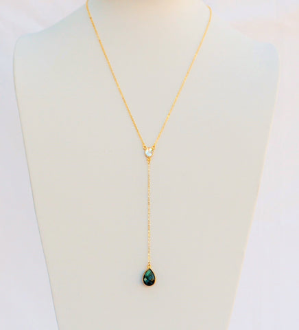 "27 Inches ""Y"" Necklace 14K Gold Filled Chain with Crystal connector and Labradorite Tear drop Pendant"