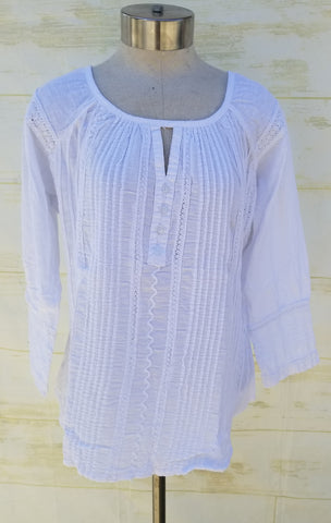 """Dakota"" White peasant blouse"