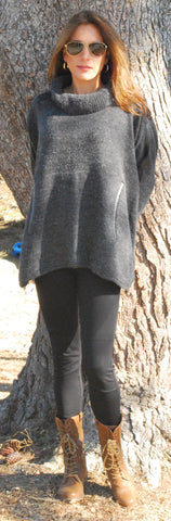 """Eva"" Sweater Cape with Leather Tourtle Neck"