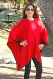 """Kristen"" Classic Trimmed Poncho"