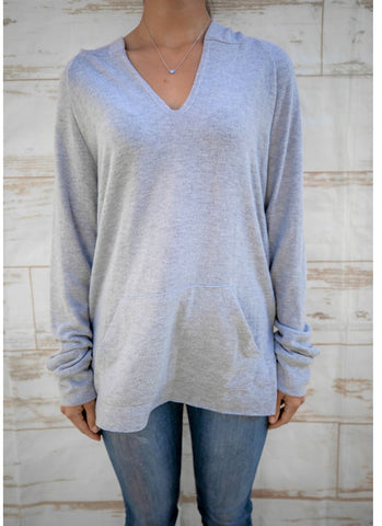 Solid Light Gray Top with Hood