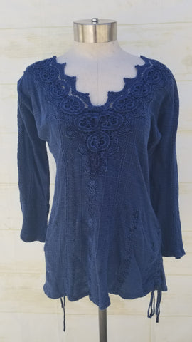 """Mallorca"" Navy Blue 100% Organic Cotton blouse"