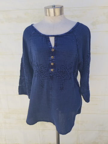 """Tahiti"" blouse 100% Organic Cotton Navy Blue color"