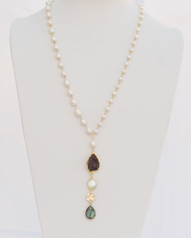 "30 Inches ""Y"" Necklace 8 mm and 4 mm Fresh Water Pearl Beads 14k Gold Filled Beaded Rosary Chain and Labradorite Tear drop Pendant"