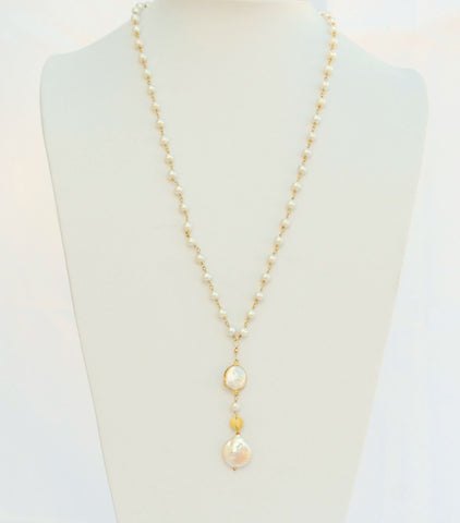 "30 Inches ""Y"" Necklace Fresh Water Pearls 4mm 14k Gold Filled Beaded Rosary Chain and Coin Pearl Pendant"