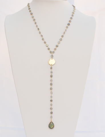 "30 Inches ""Y"" Necklace Labradorite Faceted Flat Rondelle Beads 6mm 14k Gold Filled Beaded Rosary Chain and Labradorite Tear drop Pendant D2"
