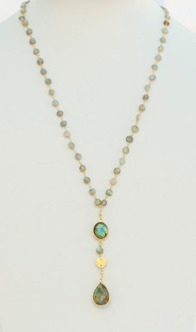 "30 Inches ""Y"" Necklace Labradorite Faceted Flat Rondelle Beads 6mm 14k Gold Filled Beaded Rosary Chain and Labradorite Tear drop Pendant"