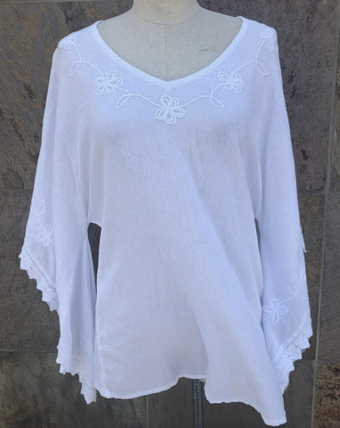"""New Orleans"" batwing sleeves white blouse"