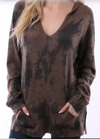 Tye-Dyed Print Top Brown with Hood