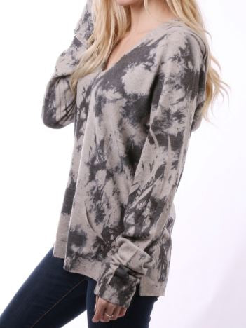 Tye-Dyed Print Top Gray with Hood