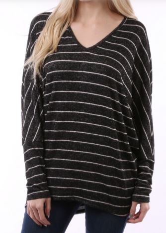Striped Top Black V Neck