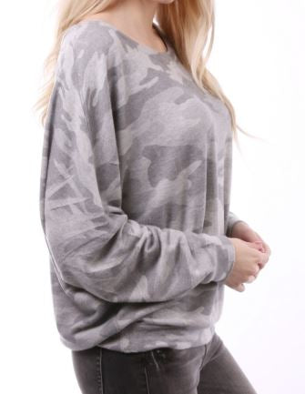 Camo Top Gray Scooped Neck