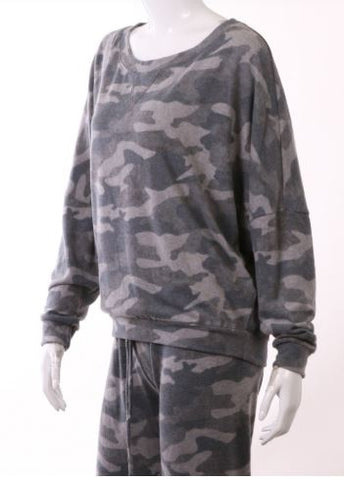 Camo Top Olive and Gray Scooped Neck