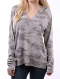 Camo Lighter Top Gray V Neck and Hood