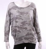 Camo Lightweight Top Gray Scoop Neck