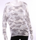 Camo Lightweight Top White and Gray Scoop Neck