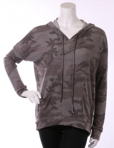 Camo Top Olive and Gray V Neck and Hood
