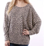 Leopard Top Camel Scoop Neck