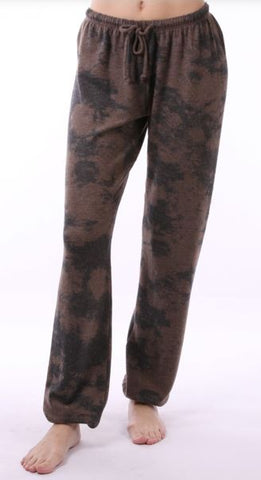 Dye-Tyed Print Pants Brown and Black