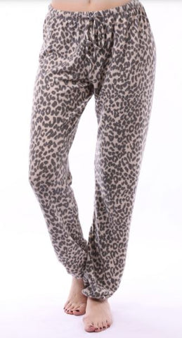 Leopard Print Pants Light Gray