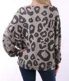 Animal Print Top Gray scooped Neck