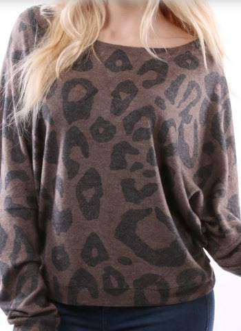 Animal Print Top Dark Brown and Black scooped Neck