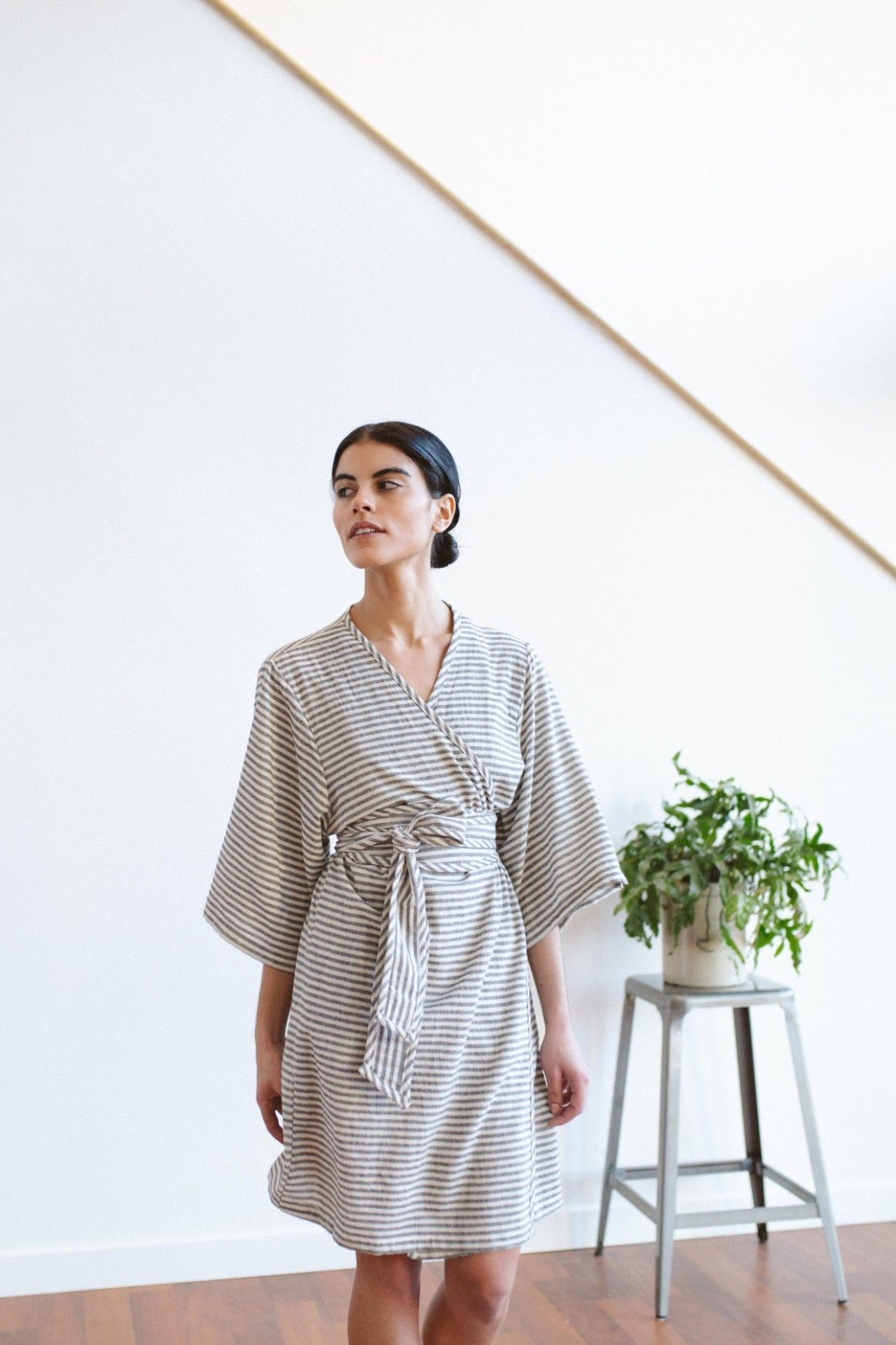 Tofino Towel Co Fresh Robe Grey Stripe