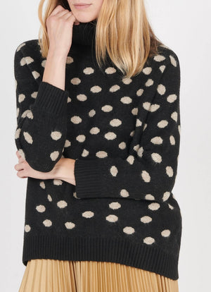 The Korner - Polka Dot Jacquard Turtleneck Sweater