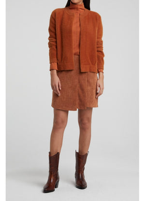 YAYA - Knitted High Neck Top Light Rust
