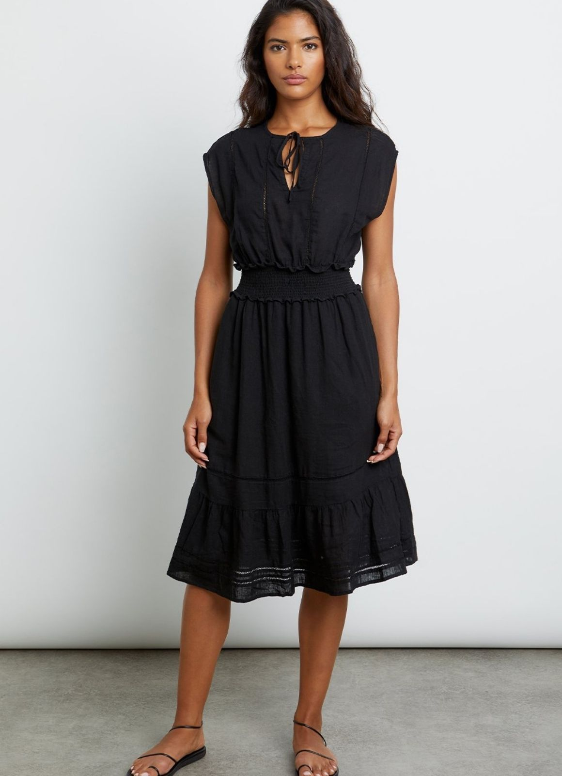 Rails - Ashlyn Midi Dress Black Lace Detail